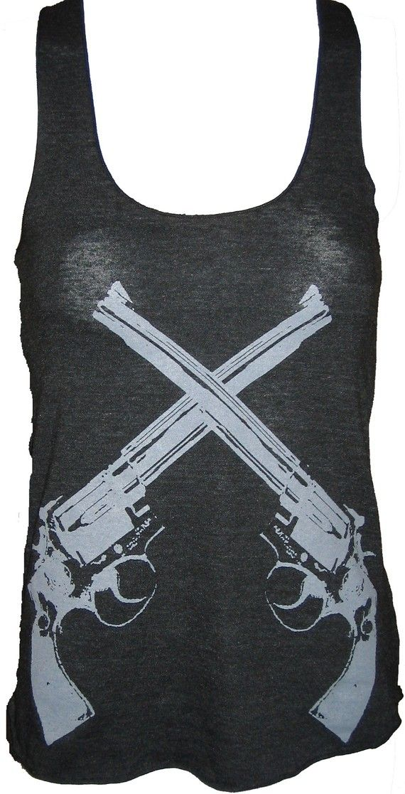 Revolver Guns Art Tank Tshirt Ladies by UnknownArtistApparel