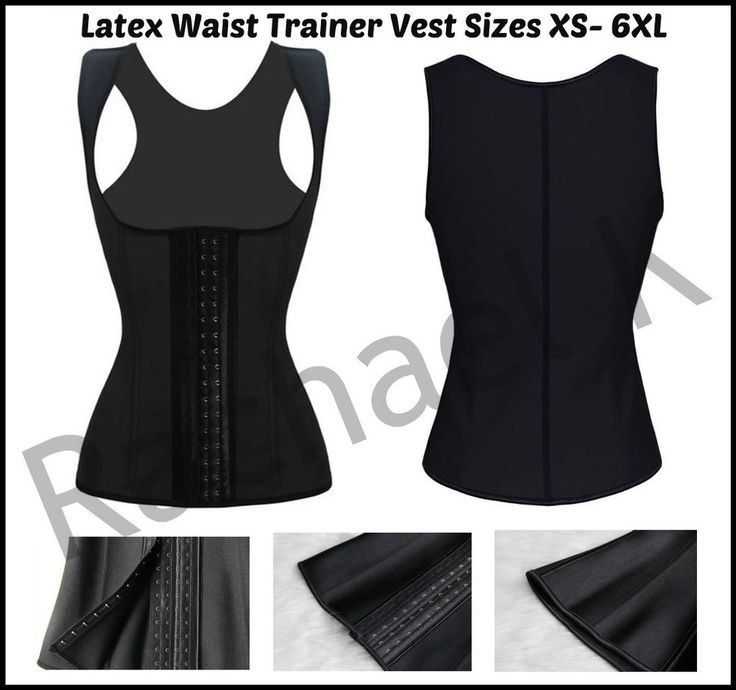 Women AU Latex Waist Trainer Underbust Plus Size Slimming Vest Black Size xs-6xl