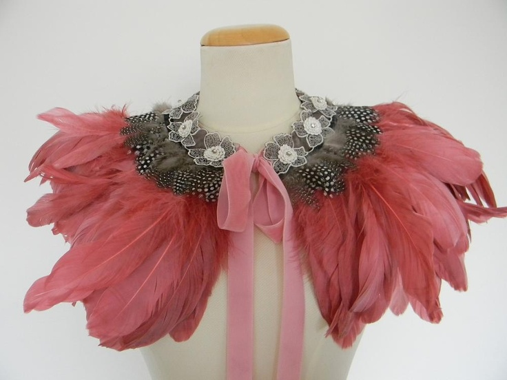 Dusty Pink Feather Cape, feather cape, feather capelet