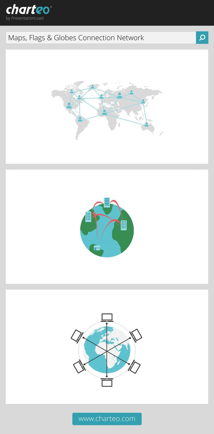 Make use of our world map templates to present international connections and networks.