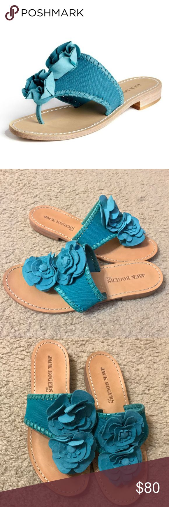 Jack Rodgers Wellesley Teal Flower Sandals Jack Rogers Wellesley teal two flower sandals in a women's size 8. They look like they're in perfect, brand new condition on the top soles- the only wear and tear are on the bottom of the shoes! Please see the photos and if you need more information feel free to ask 👡👍🏼💕 Jack Rogers Shoes Sandals