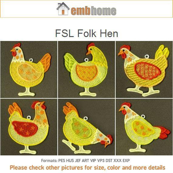 FSL Folk Hen Free Standing Lace Machine Embroidery Designs Instant Download 4x4 hoop 10 designs APE1631