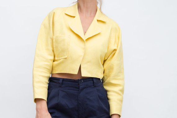 Your Place To Buy And Sell All Things Handmade Crop Jacket Vintage Yellow Jackets