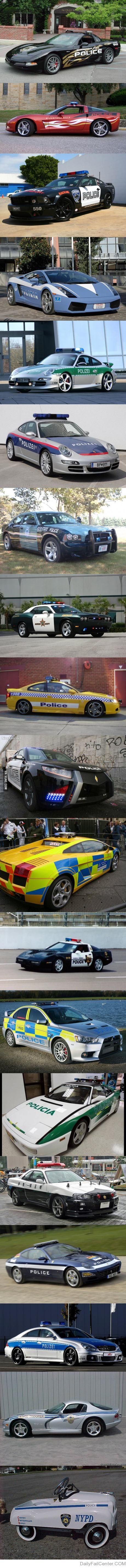 Police cars all over the world