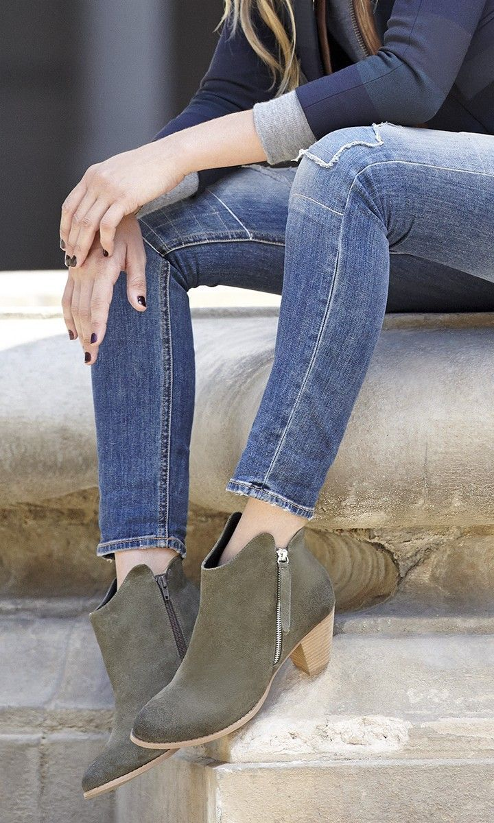 ankle booties with chic angled zippers