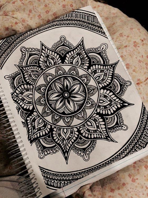 Dibujo a tinta Mandala por ArtbyAlyssia en Etsy: