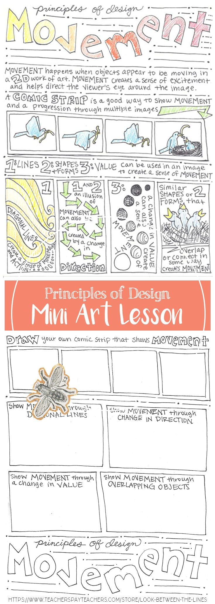 This mini art lesson covers the principle of design, movement. This printable worksheet is back and front. The back is full of activities for the students to complete to test their understanding of the information covered on the front. #principlesofdesign #artlesson #printable #art