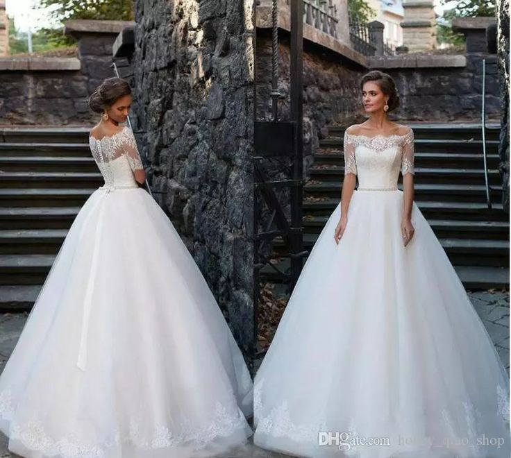 Unique  Vintage Lace Wedding Dresses Half Sleeve Sheer Backless Bridal Gowns Floor Length Beads Cheap Princess Wedding Gowns