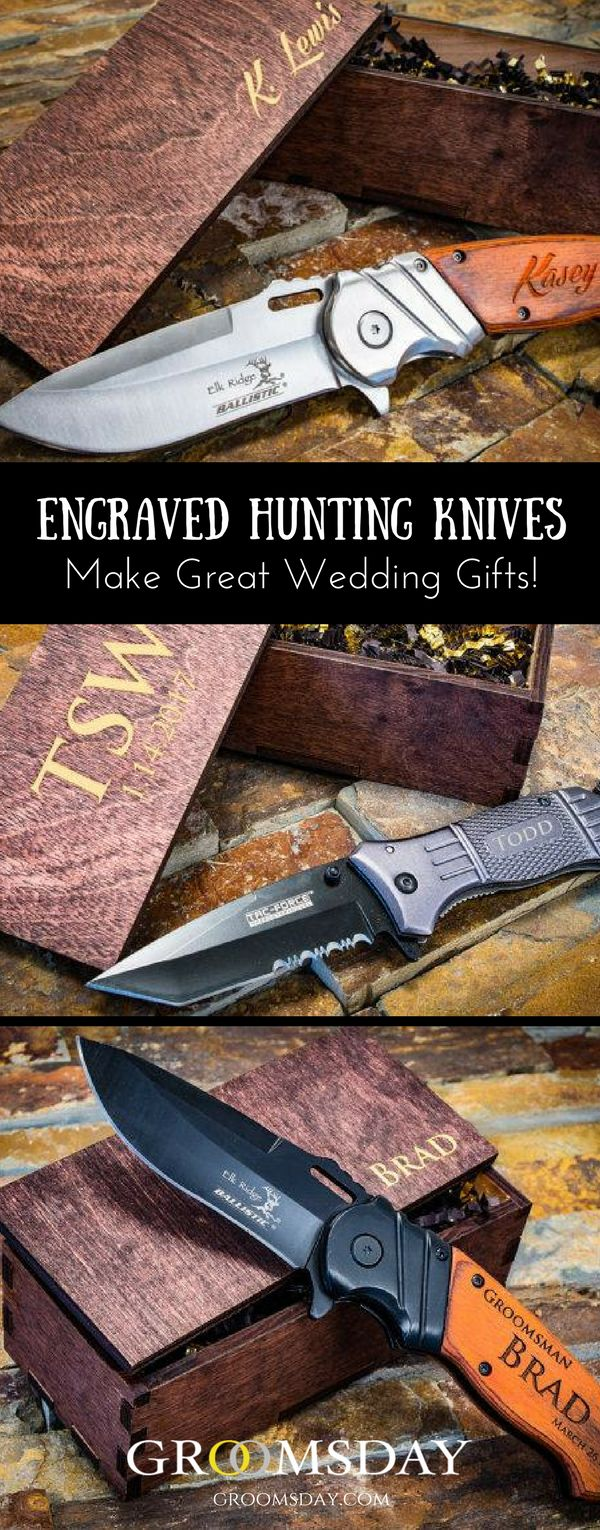 Snap up one of these spring assisted Hunting or Tactical Knives which make great groomsmen gifts or gifts for any out-door loving men. High quality, Elk Ridge brand name knives, skillfully engraved just for him. Built with heavy-duty blade fitments so they will last a lifetime of use. Share & repin! Only from Groomsday | Groomsday.com #pocketknives #groom #groomsmen #groomsmengifts #personalizedgifts #giftsformen #mensaccessories