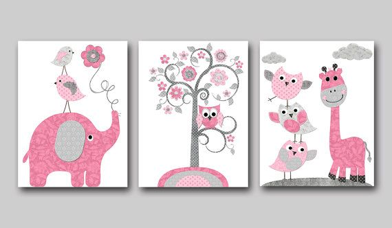 Elephant Nursery Giraffe Nursery Baby Girl Nursery Art Decor Kids wall art Kids Art Baby Room Decor Nursery Print set of 3 owl pink rose gray childrens wall decor  *** UNFRAMED - THIS PRINT IS ON PAPER OR ON CANVAS ***1712 1713 1714  To return to my shop, click here: http://www.etsy.com/shop/artbynataera  Set of 3 print in inches . Theres an extra 1/8 in. white border around the print to ease framing.IMPORTANT: This is a print made on matte photo paper that will need to be framed. ● SIZE FOR…