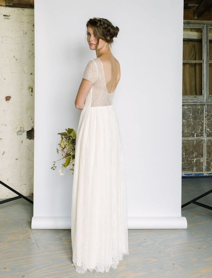 JULIETTE - Ivory chantilly lace over a vintage cream silk. Sheer back with beaded edge around neckline and back neck.