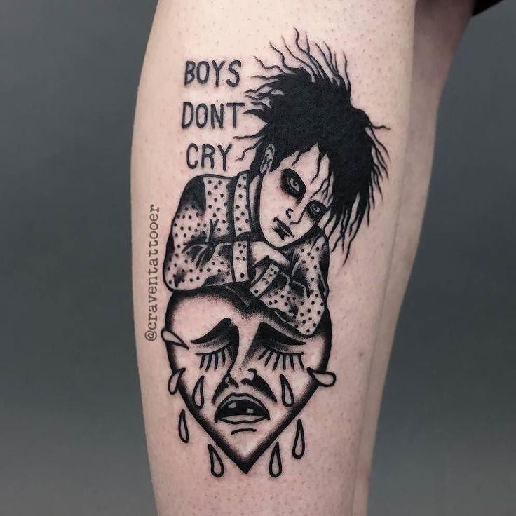Boys Don't Cry by @craventattooer in Sheffield United Kingdom. #boysdontcry #heart #cryingheart #thecure #robertsmith #craventattooer #sheffield #unitedkingdom #tattoo #tattoos #tattoosnob