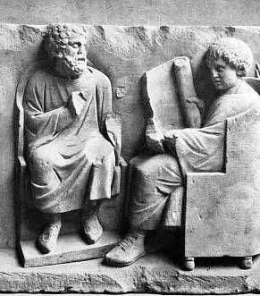 Scena di scuola, bassorilievo del II secolo a.C.
