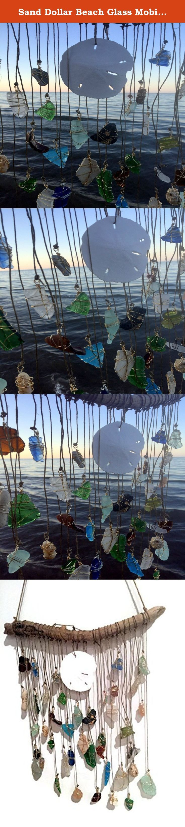 "Sand Dollar Beach Glass Mobile Sun Catcher Sea Glass Wind Chime Bohemian Wedding Gypsy Style Eco Friendly Decor Lake Erie. 44 piece sand dollar sea glass mobile, sea glass sun catcher/windchime. Perfect for a bohemian gypsy style wedding! Eco friendly Lake Erie décor perfect for the upcycling, green living, beach lover in your life. Driftwood measures 14 1/2"" W, the longest strand is 16"", shortest is 3"". Sand dollar from CA shores, beach glass collected along the shores of Lake Erie by me..."