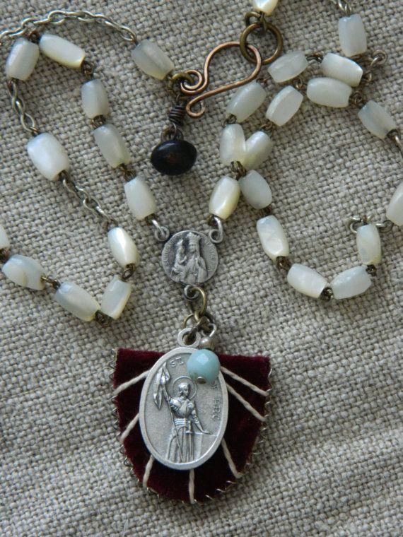 Vintage Joan of Arc Medal Velvet Scapular Necklace by 58Diamond