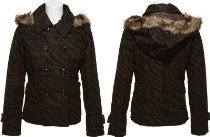 DOLLHOUSE Zebra Double Breasted Wool-Blend Jacket W/ Fur Trim Hood [6778F], Brown