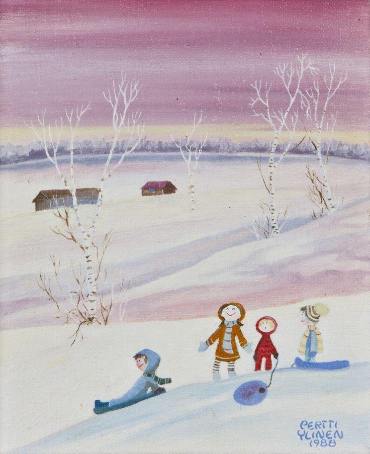 Pertti Ylinen: Pulkkamäki, 1988, öljy, 25x20 cm - Hagelstam A136
