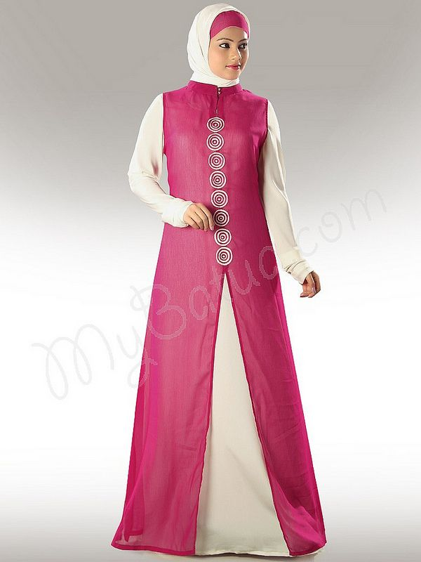 Beautiful Off White & Magenta Party Wear Abaya  MyBatua.com Anjum Abaya! Style No: Ay-311 Shopping Link : http://www.mybatua.com/anjum-abaya Available Sizes XS to 7XL (size chart: http://www.mybatua.com/size-chart/#ABAYA/JILBAB)  Beautiful dual color Abaya with off white inner inside  Band collar neckline.  Lovely embroidery in front  Churidar sleeves  Utility pockets on both sides  Matching Square Hijab (100x100 cm approx.) and Band can be bought Separately.