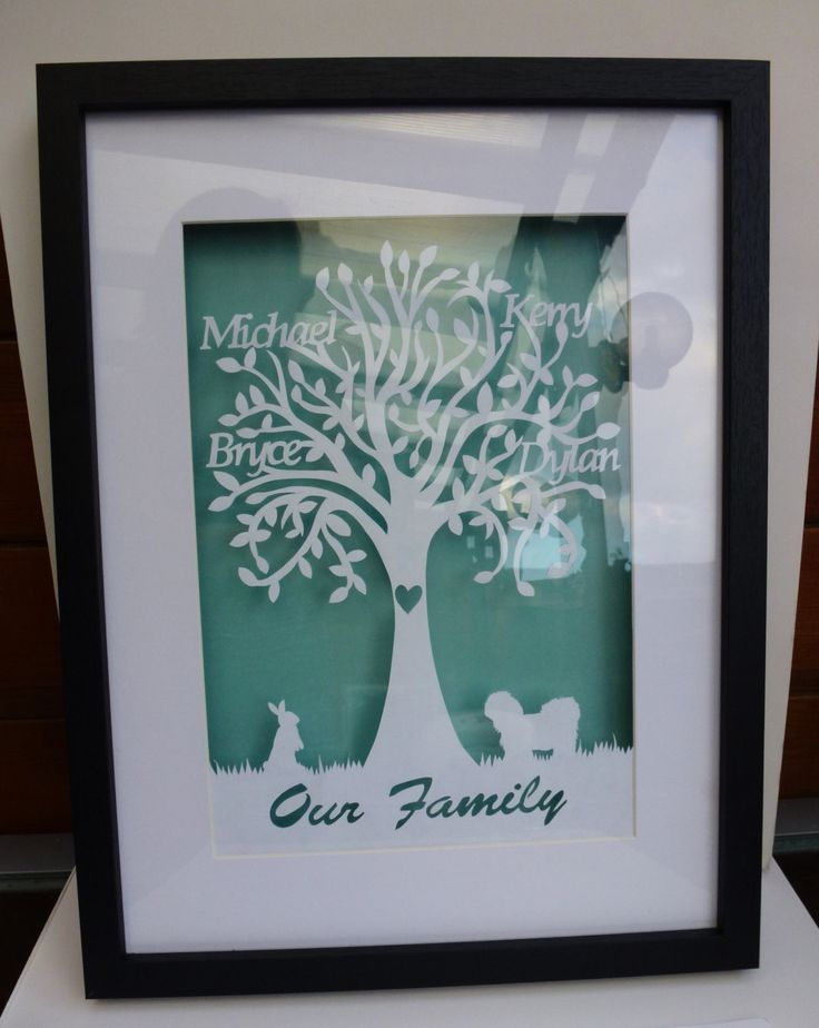 Hand Cut And Framed Personalised Family Tree Papercut