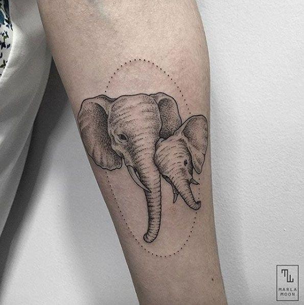 Elephant portrait tattoo by Marla Moon