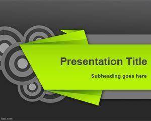 Plantilla PowerPoint de Kirigami es un diseño de Microsoft PowerPoint con fondo oscuro y espacio para título con color verde que tiene un efecto de origami para descargar gratis además de círculos concéntricos de color gris