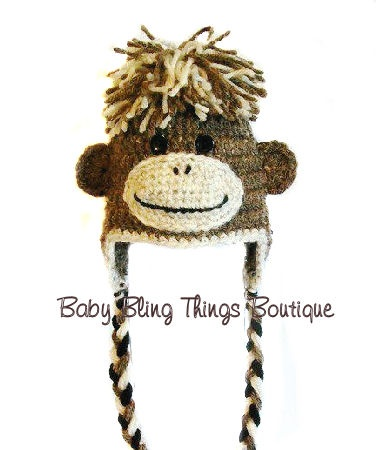 Brown Monkey Crochet Hat