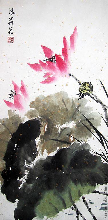 Купить или заказать Лотос на ветру в интернет-магазине на Ярмарке Мастеров. Лотос является символом буддизма и является одним из центральных цветов в китайском искусстве, ассоциируясь с такими качествами как чистота и гармония, а также летом, долголетием, благородством, изяществом, целительными силами, а также, в случае присутствия на картине и цветка и бутона, брачный союз и пожелание потомства (семенная коробочка усиливает это пожелание). Т.к.…