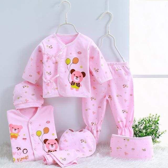 b7926ce22ebf5 Darling 7 PC Cotton Newborn/Infant 0-3M Top, Pants, Hat, Belt, Scarf Set