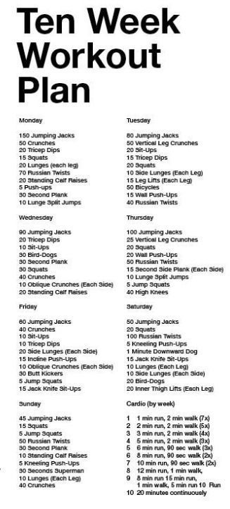 10 Week Workout Plan, using Zumba as my cardio instead. On a mission to be fine by Vegas time! http://www.4myprosperity.com/the-2-week-diet-program/