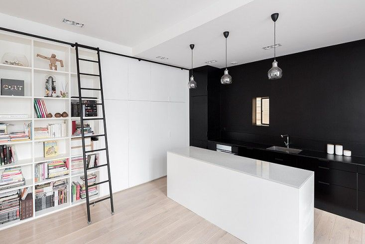 Septembre Architecture, Kabinett Paris Loft, Photos by Maris Mezulis | Remodelista: Families Apartment, Kabinett Apartment, Manufactured Workshop, Paris France, Interiors Design, Black Kitchens, Black White, Minimalist Houses, White Kitchens