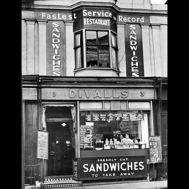 """""""This is the frontage of Divall's café in the 1960s from the personal collection of JJ Waller."""" Terminus Road, Brighton."""