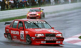 Jim Richards sloshing through the rain at Bathurst in 1996.