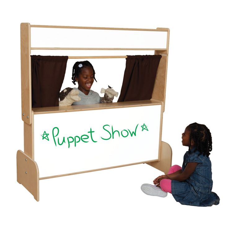 Wood Designs Markerboard Puppet Theater with Brown Curtains - WD21651BN