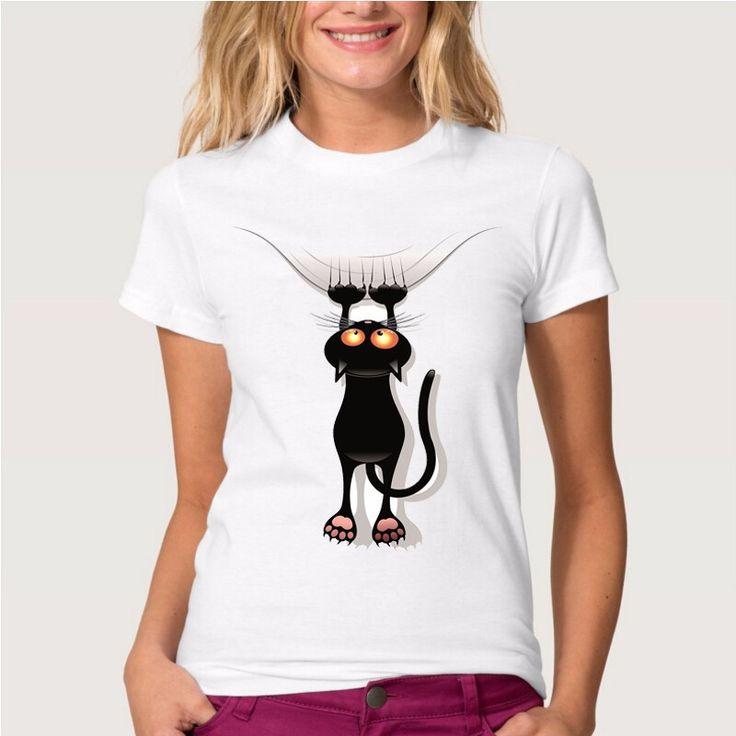 ホット販売いたずら黒cat 3d tシャツ女性素敵なシャツ良い品質快適なブランドシャツソフトトップス