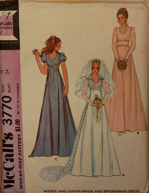 Bridal & Bridesmaid Gown or Maxi Dress - 1970s - McCalls Pattern 3770    Uncut      Size 12  Bust  34