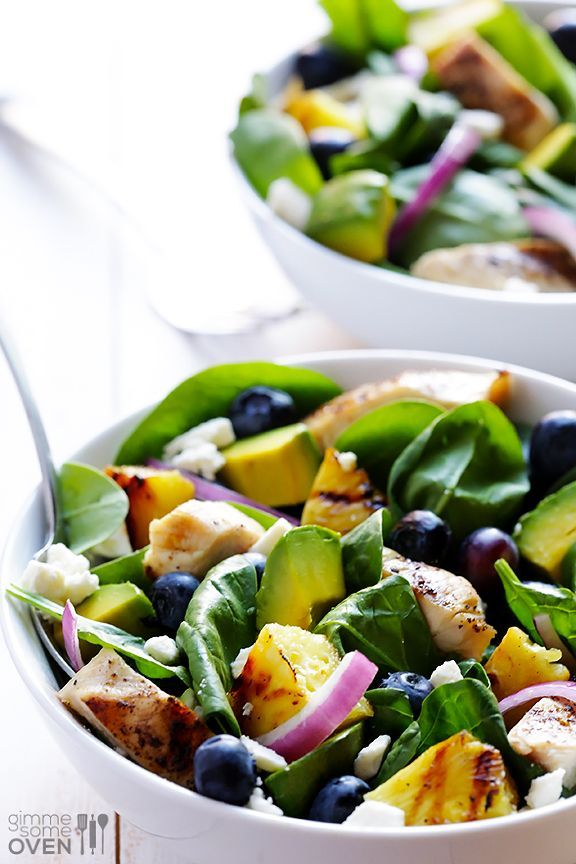 Grilled Pineapple, Chicken and Avocado Salad | gimmesomeoven.com