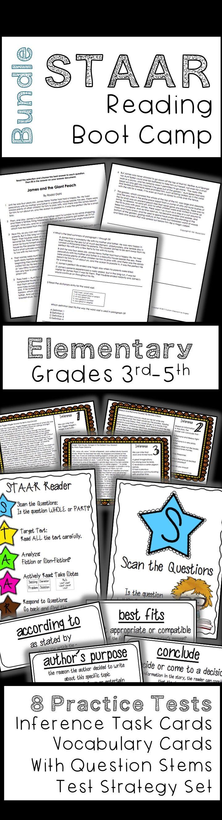 The 25 best texas staar test ideas on pinterest staar test elementary staar reading boot camp bundle staar test prep practice tests inference task gamestrikefo Images