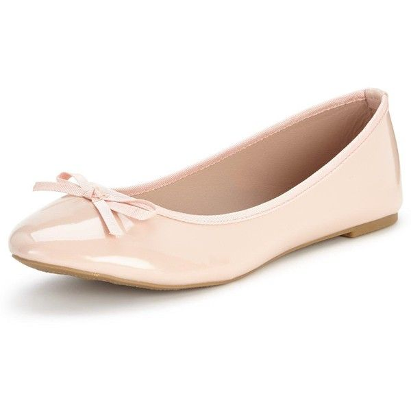 Shoe Box Mabel Flat Ballerina Shoes ($15) ❤ liked on Polyvore featuring shoes, flats, bow ballet flats, ballerina flat shoes, nude ballet pumps, ballet pumps and bow flats