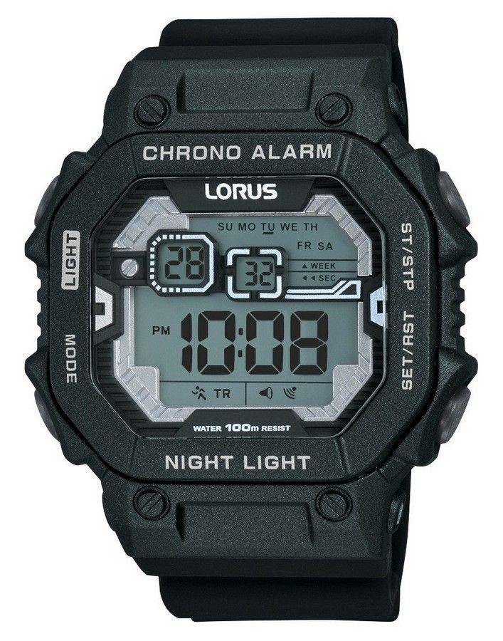 Lorus Herenhorloge Digitaal Zwarte band R2395KX9. Dit horloge is geheel zwart uitgevoerd en heeft alle bekende functies. Het heeft een tijdsaanduiding, een alarm en een chronograaf waamee je de verstreken tijd kan meten. Ook de dagen van de week zijn te zien. Dit horloge beschikt ook over een lichtfunctie: 'Night Light'. U heeft twee jaar garantie op het uurwerk.