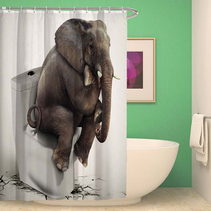 Rideau de douche impression 3d l phant pour salle de bain - Anti moisissure salle de bain ...