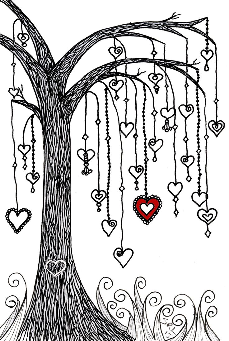 A previous drawing with a little added colour. Zentangle by Sandy Rosenvinge Lundbye.