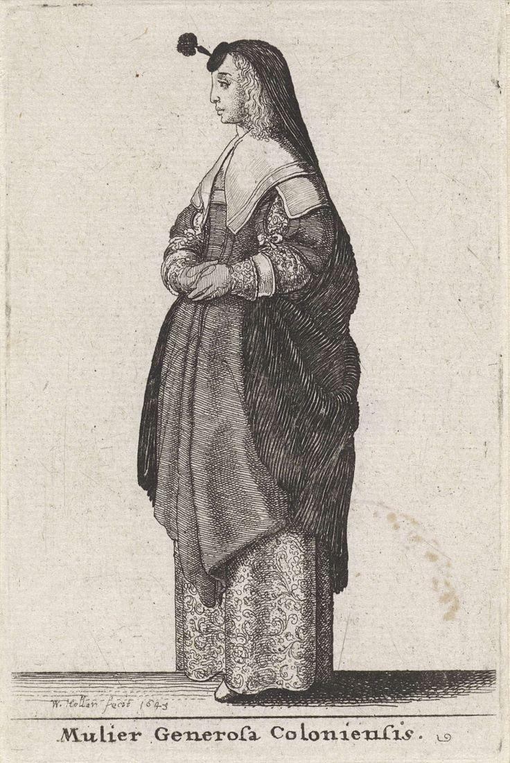 Wenceslaus Hollar | Mulier Generosa Coloniensis, Wenceslaus Hollar, 1643 | Vrouw uit Keulen, staand naar links, met een huik bestaande uit een klein rond hoedje met een opstaande staak en pluim op het voorhoofd, waaraan een ruime, fijn geplooide cape die hier tot aan de ellebogen is opgenomen. Lang krullend haar valt tot op de schouders. Twee onversierde halsdoeken over elkaar: een dubbelgevouwen vierkante en een die over de schouders ligt. Japon met nauwsluitend lijf, halflange opengesneden…