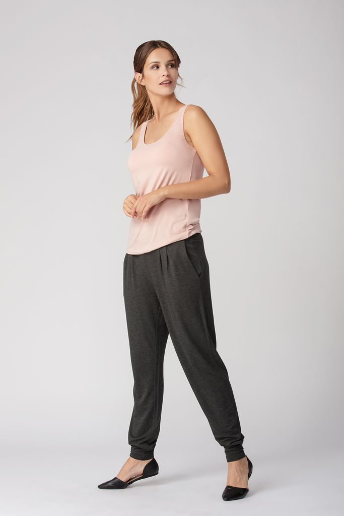 Womens Organic Bamboo Viscose Essentials Tanks in Pale Rose - LNBF Sustainable Clothing Designed in Canada