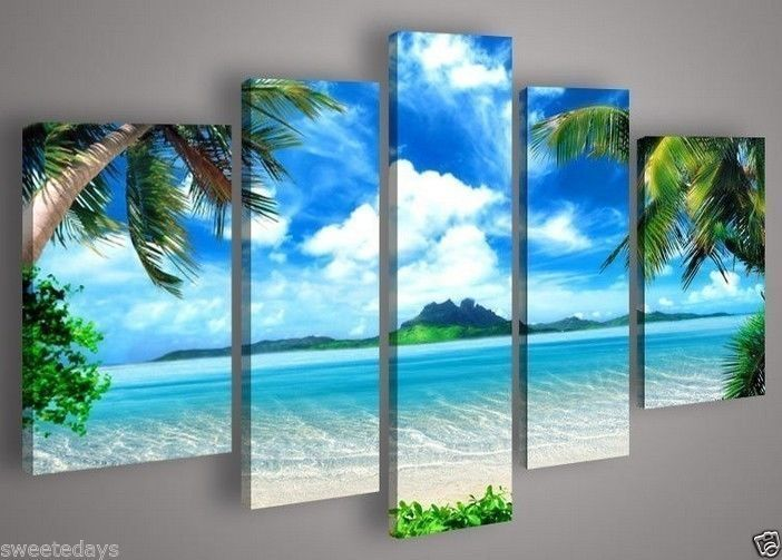 5 Pieces Large Canvas Blue Ocean Art Seascape Painting (no stretch) £4.99