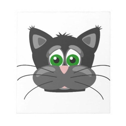 Green-eyed black Cat Notepad - drawing sketch design graphic draw personalize