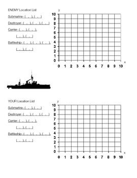 Battleship! Coordinate Graphing Activity on Quadrant 1