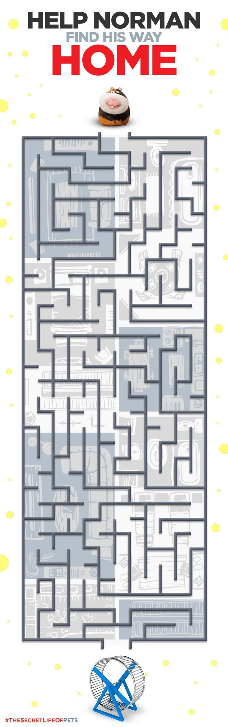 Check out this Pinterest exclusive printable activity maze featuring the adorable guinea pig, Norman! Can you help him find his way home? | The Secret Life of Pets | In Theaters July 8th