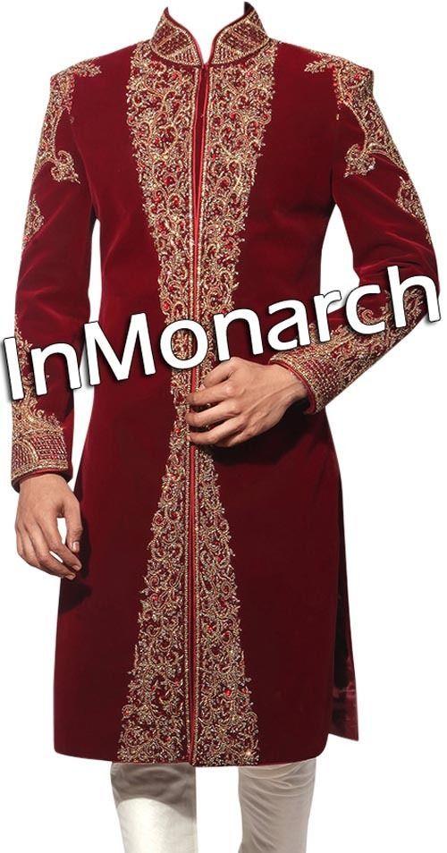 Embroidered Merlot Red Velvet Groom Sherwani Designer Mens Indian Sherwani SH422 #WeddingEngagement