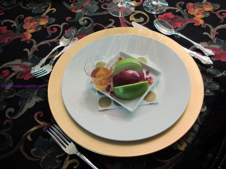 Jewish table settings - Rich with Vibrant Color and Tradition- A Rosh Hashanah Table by Rosette Rutman | Kosher Recipes and Jewish Table Settings