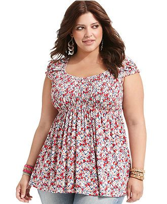 American Rag Plus Size Top, Short-Sleeve Floral-Print - Plus Size Tops - Plus Sizes - Macy's